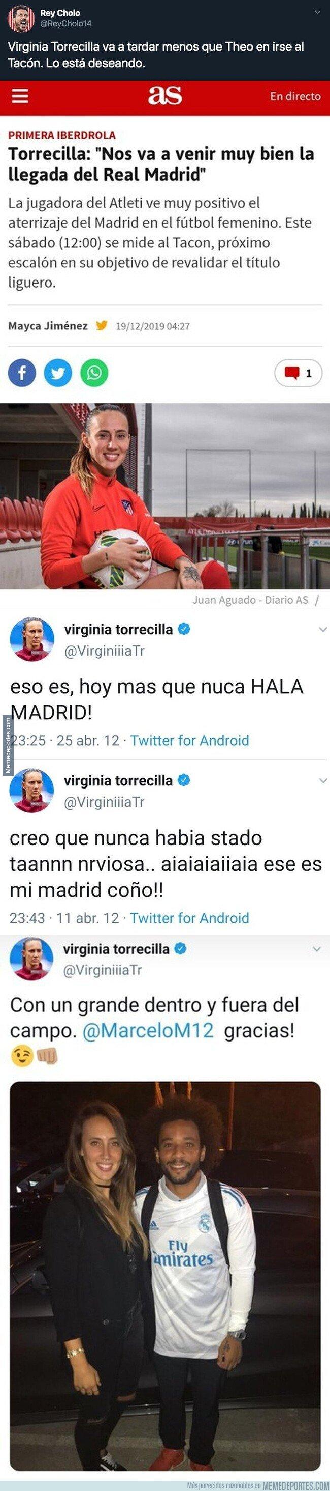 1094051 - Salen a la luz tuits del pasado de Virginia Torrecilla, jugadora del Atlético de Madrid y queda totalmente retratada