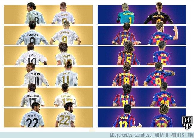 1094351 - Los dorsales de Barça y Madrid al principio y al final de la década, por @brfootball