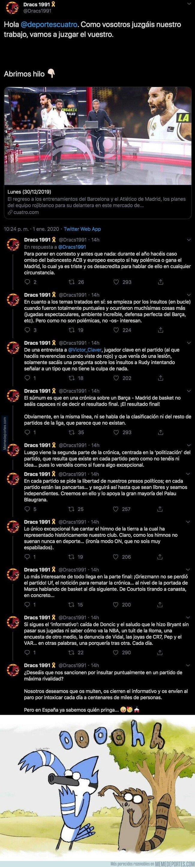 1094882 - Los aficionados del Barça de baloncesto cargan duramente contra 'Deportes Cuatro' por manipular de esta forma sobre ellos tras El Clásico