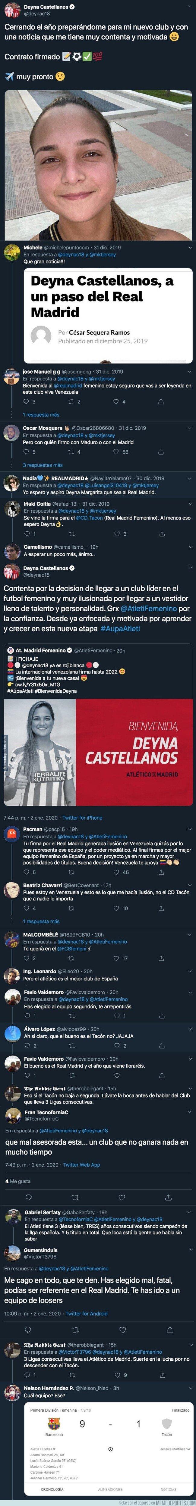 1094978 - El ZASCA grupal que se han llevado todos los madridistas con el fichaje de Deyna Castellanos por el Atleti tras publicar todos estos mensajes días antes