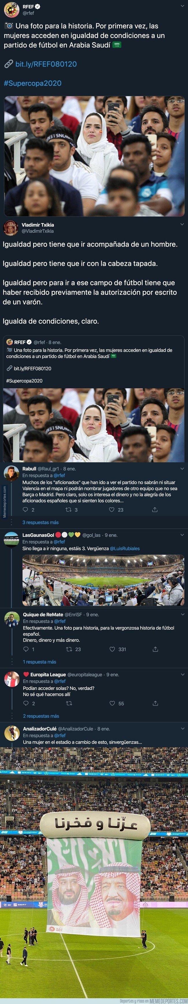 1095468 - La 'RFEF' se autofelicita por la foto de una mujer en Arabia Saudí viendo la Supercopa de España y le caen unos palos descomunales en las respuestas