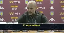 Enlace a A Guardiola le preguntaron si creía que Agüero era el mejor 9 del mundo y terminó haciendo apología de Messi de forma increíble