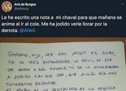 Enlace a La emotiva carta de un padre a su hijo colchonero tras la derrota frente al Madrid que está aplaudiendo todo el mundo