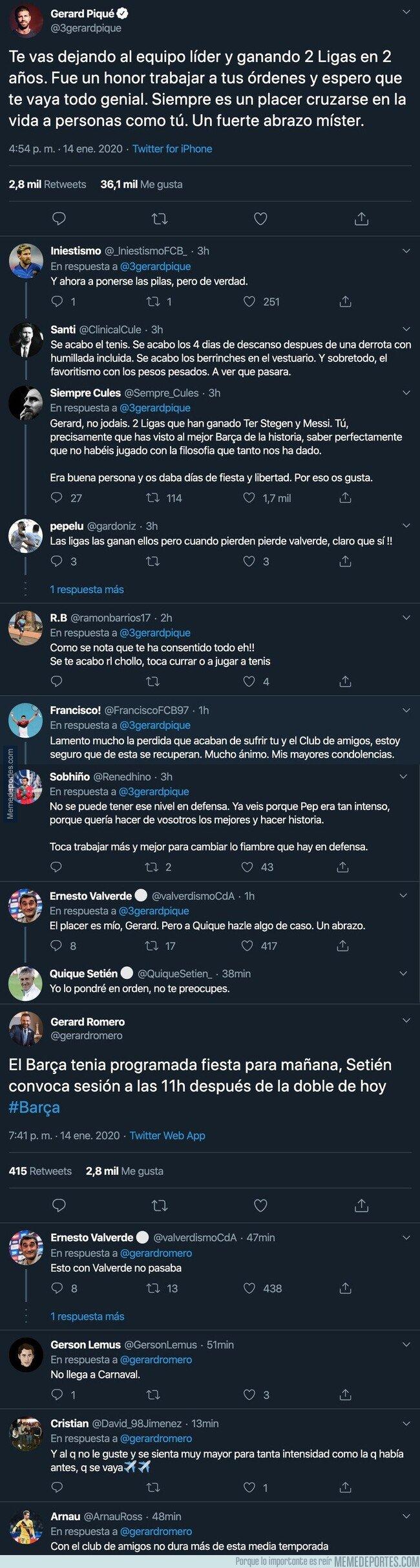 1095845 - El 'dardo' de Piqué a Bartomeu con este mensaje tras despedir a Valverde