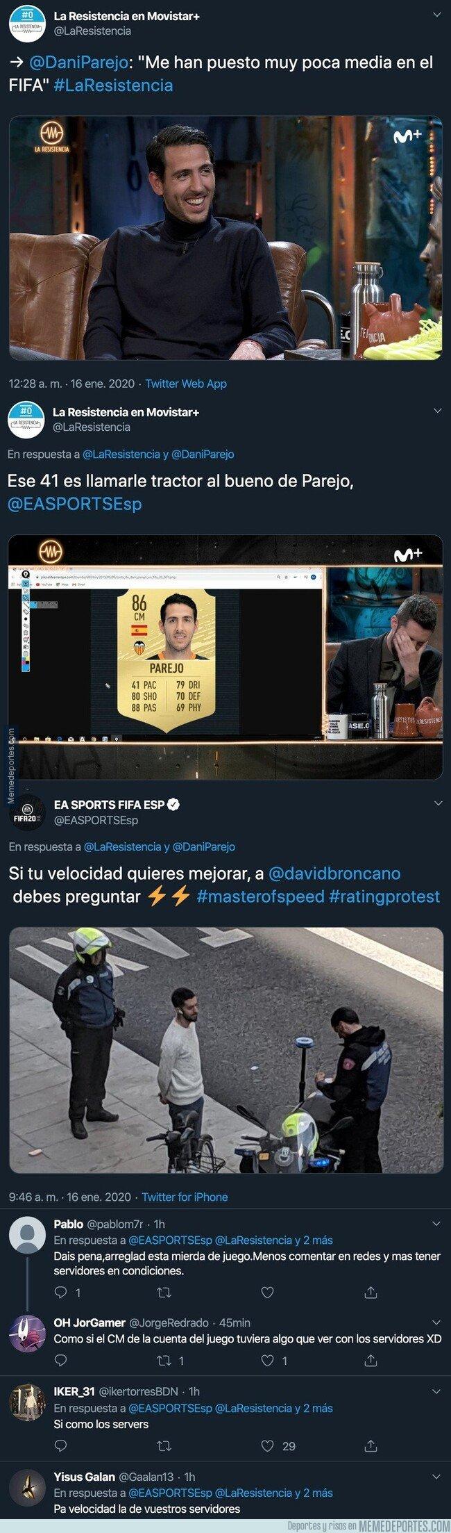 1095938 - Dani Parejo se queja de su media en el FIFA en 'La Resistencia' y EA responde de forma brutal metiéndole un 'ZASCA' a David Broncano