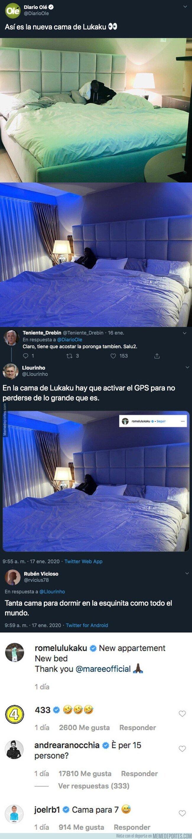 1096013 - Lukaku sube fotos de su nueva cama de tamaño gigantesco y todo internet se llena de comentarios sobre ella