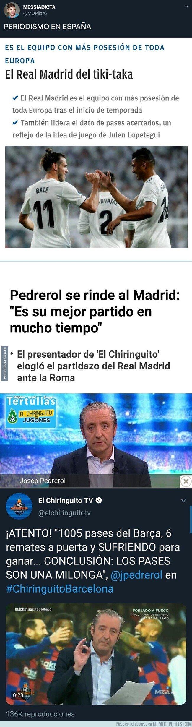 1096314 - El doble rasero increíble del periodismo cuando el Real Madrid y Barça ganan jugando con la posesión del balón