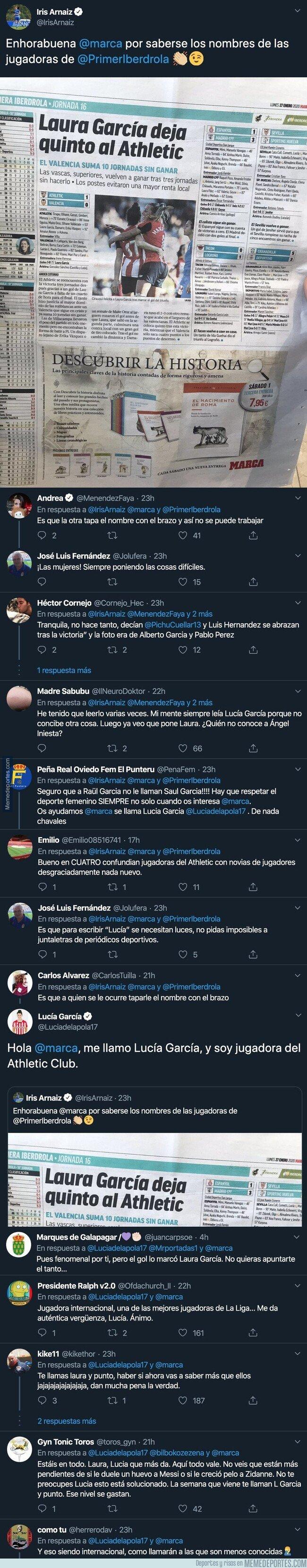 1096955 - Lucía García del Athletic le pega un ZASCA monumental al diario MARCA al escribir una noticia sobre ella y cambiarle el nombre