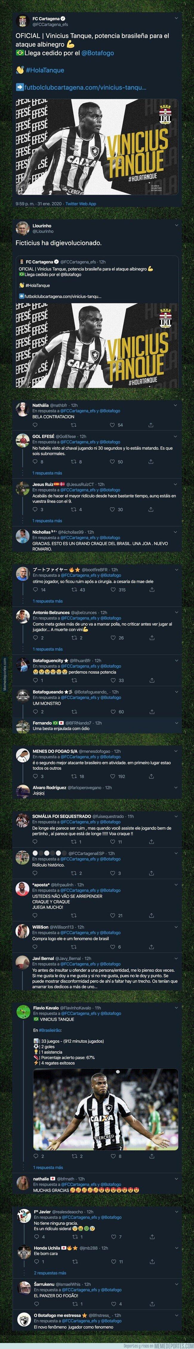 1097285 - El Cartagena ha fichado a un tal 'Vinicius Tanque' del Botafogo y todos los aficionados brasileños están respondiendo de forma épica por sacarse de encima a tal paquete