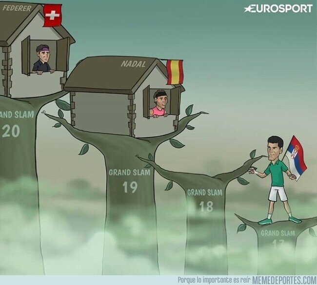 1097449 - Djokovic tiene a tiro de piedra a Nadal y a Federer, por @zezocartoons