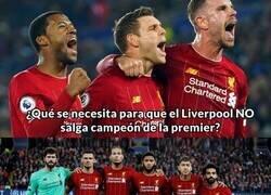 Enlace a Lo que se necesita para que el Liverpool NO sea campeón. Es más probable un pasillo del City