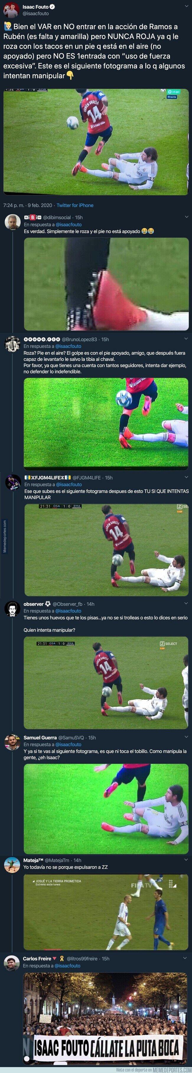 1098058 - El periodista Isaac Fouto intenta manipular descaradament diciendo que Sergio Ramos no golpea al jugador de Osasuna y todo Twitter le retrata