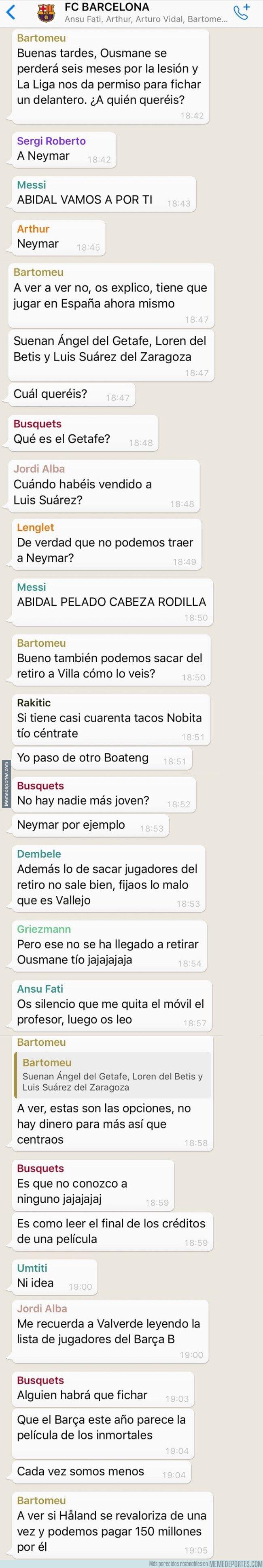 1098195 - Bartomeu pregunta por el delantero idóneo por el grupo de Whatsapp del Barça, por @deportes4parodia