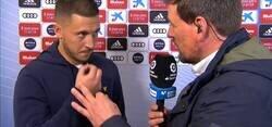 Enlace a Enorme: Eden Hazard explica a un periodista en directo como se pronuncia su apellido