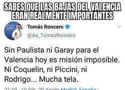 Enlace a Ni el poder de Roncero pudo ayudar al Valencia ante el Atalanta