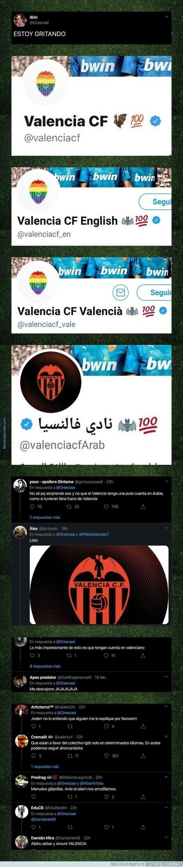 1098832 - Todo Twitter se está riendo por este detalle en el avatar de la cuenta del Valencia en árabe en comparación con las de inglés y español