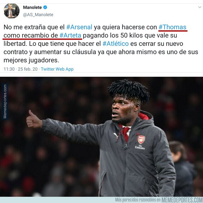 1099207 - Según Manolete, el Arsenal quiere a Thomas para que sea su entrenador