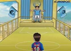 Enlace a Messi, en casa del Diego, por @zezocartoons
