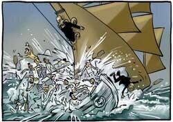 Enlace a Duro golpe para la línea de flotación blanca, por @yesnocse
