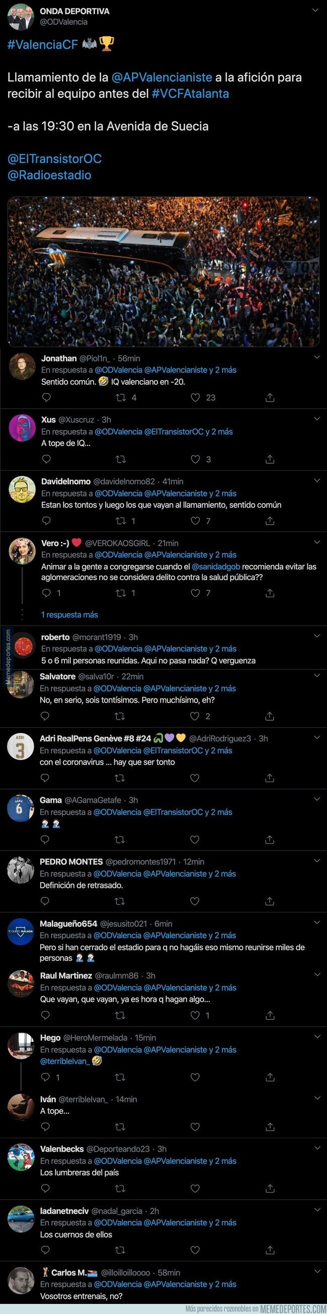 1100480 - Liada máxima de este medio valenciano al poner este tuit antes del Valencia-Atalanta que se jugará a puerta cerrada por el coronavirus