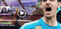 Enlace a Tremendo: Courtois estaba retransmitiendo una partida de Fortnite y se tira un brutal pedo en directo