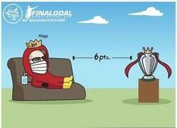 Enlace a La distancia de seguridad que separa al Liverpool del título, por @justtoonit_th
