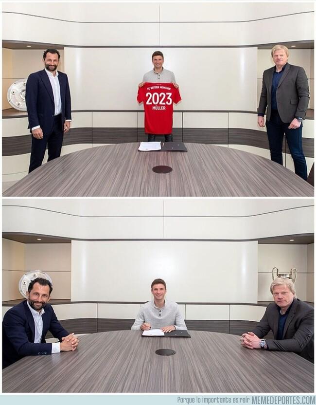 1102310 - Así firmó Muller su renovación con el Bayern. Seguridad ante todo.