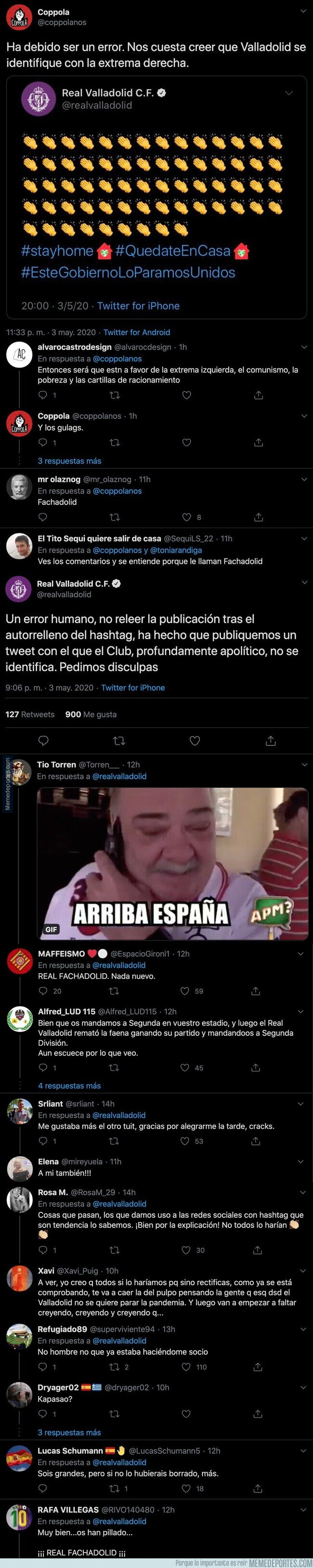1103719 - El Real Valladolid la lía por completo al tuitear este mensaje contra Pedro Sánchez en mitad de la pandemia del coronavirus