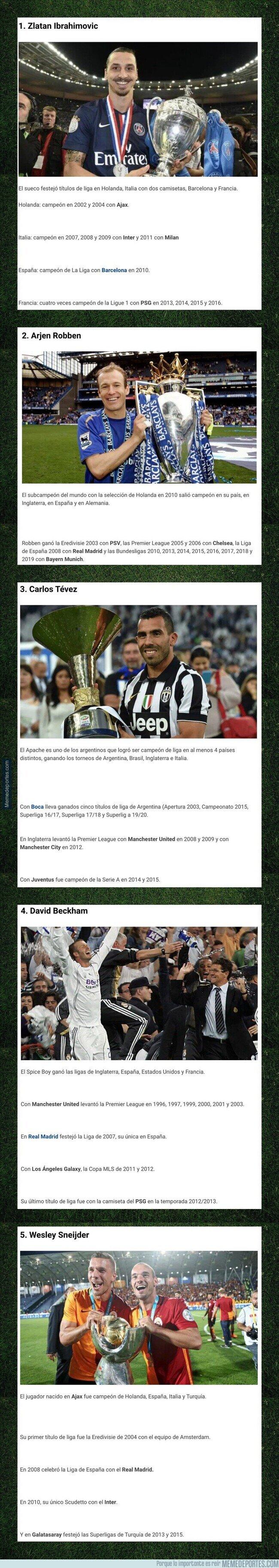 1104115 - Cinco futbolistas que fueron campeones de liga en cuatro países diferentes