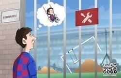 Enlace a El Bernabéu, cerrado durante esta etapa a puerta cerrada, por @footytoonz
