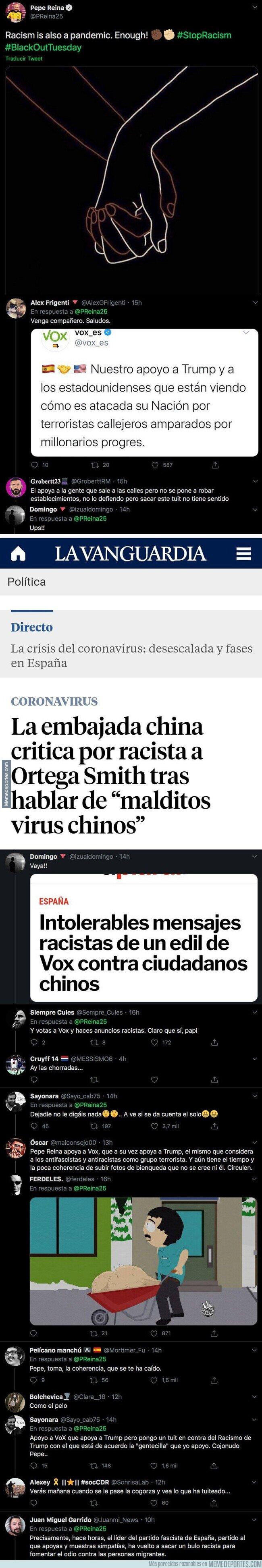1105775 - Lío monumental: Pepe Reina publica una imagen contra el racismo y todo Twitter se le echa encima respondiendo sin piedad por su incoherencia
