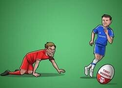 Enlace a El Chelsea se vuelve a adelantar al Liverpool, esta vez por Timo Werner, por @zezocartoons
