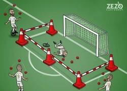Enlace a Benzema juega de lujo, excepto de cara a puerta, por @zezocartoons