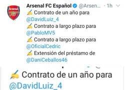 Enlace a Gunners al enterarse de la renovación de David Luiz