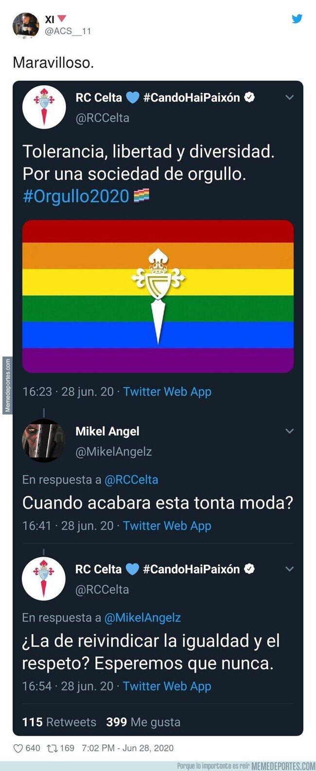 1107942 - El ZASCA monumental del Celta de Vigo a un intolerante que se quejó tras poner la bandera LGTB el club vigués