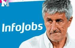 Enlace a 'Infojobs' se la saca del estadio tuiteándole este mensaje a Setién tras perder la Liga frente al Atleti