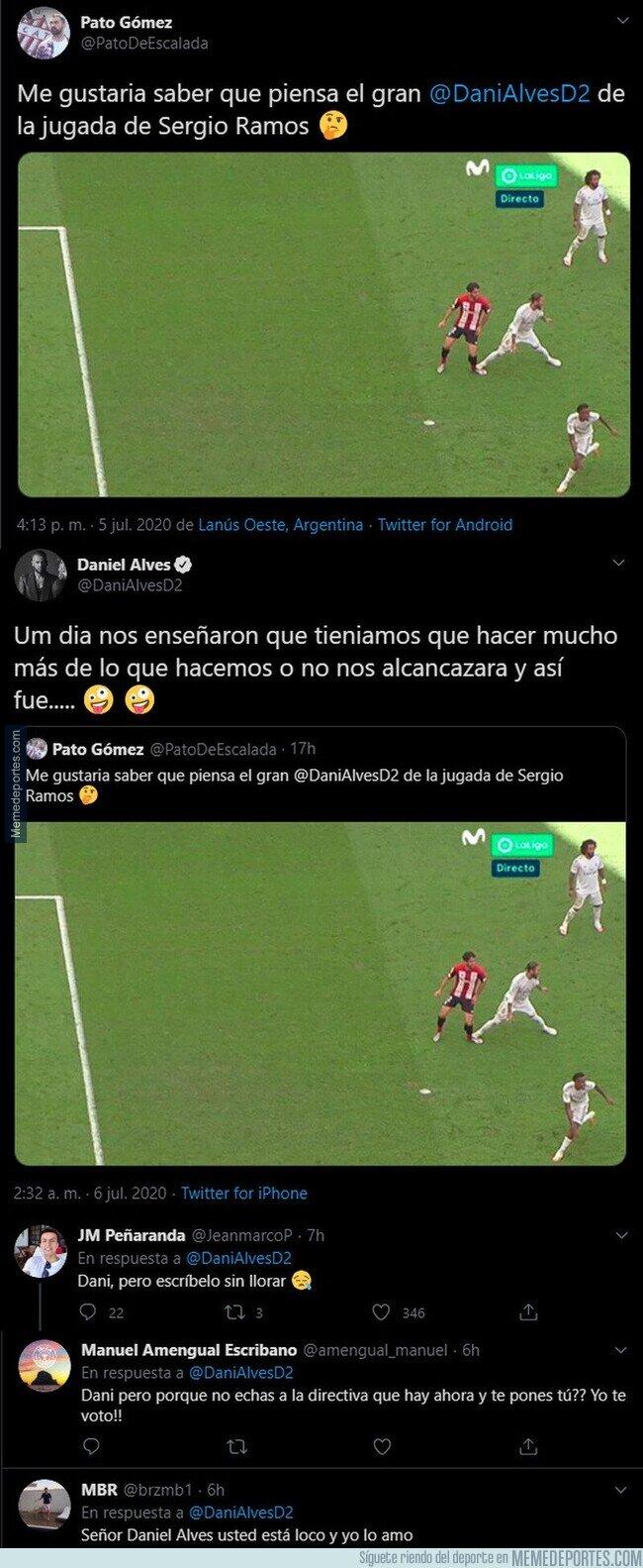 1108671 - Dani Alves no se corta un pelo y raja contra el penalti no señalado de Ramos por pisotón