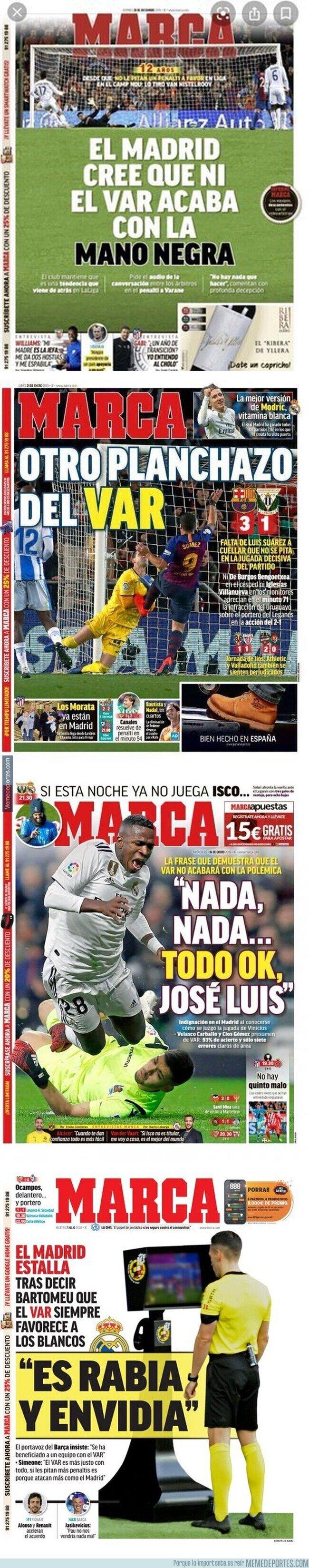 1108783 - Dejan retratado al diario MARCA por su diferencia de portadas cuando ayudan al Barça y al Real Madrid con el VAR