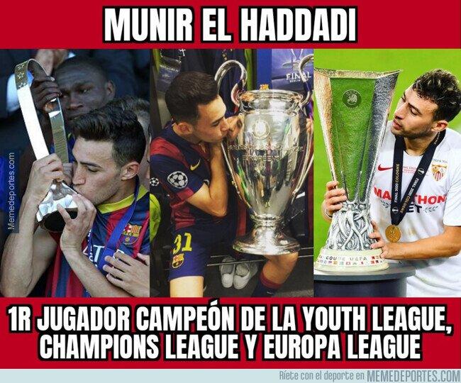 1113682 - Munir, campeón de todos los títulos de la UEFA