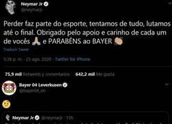 Enlace a Neymar felicita al Bayer sin N. No se lo dejan pasar