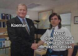 Enlace a Koeman contento con Messi