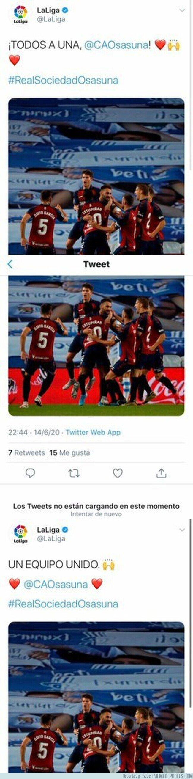 1116319 - El tuit que ha tenido que borrar 'LaLiga' sobre Osasuna porque han empezado a responderles con insultos