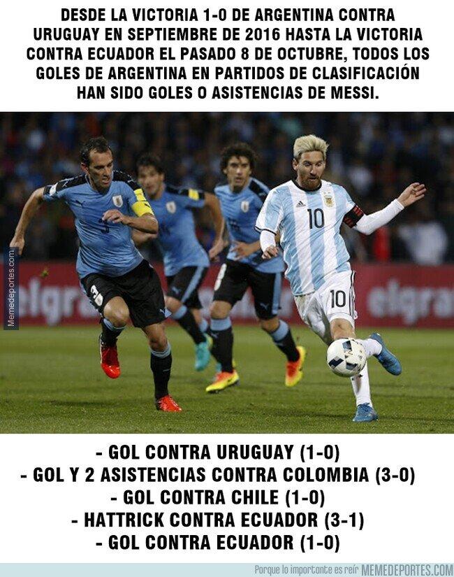 1117588 - Sin Messi, Argentina no ha logrado anotar un gol por si solos en eliminatorias desde 2016.