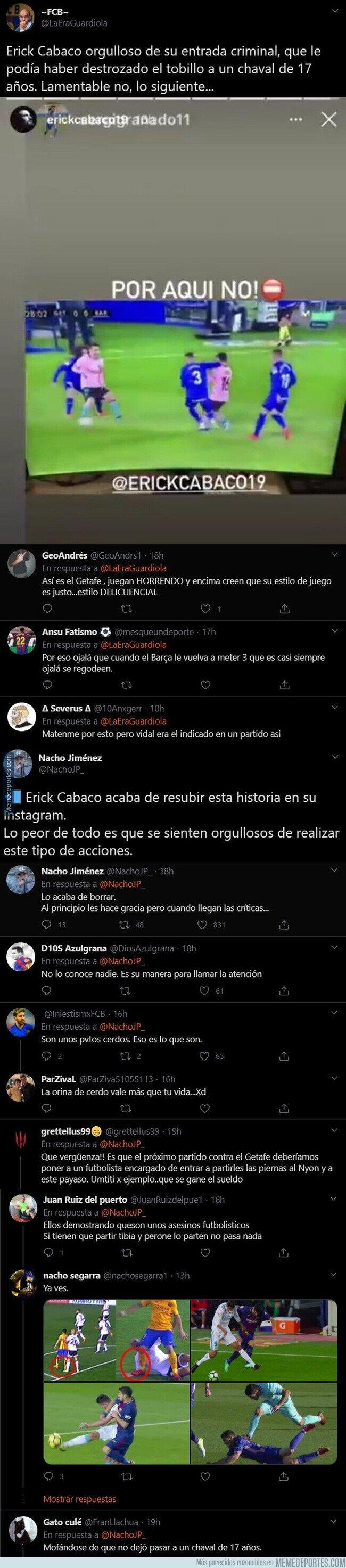 1118254 - Gran polémica por la 'story' que ha subido Erick Cabaco del Getafe tras el codazo a Messi que ha tenido que borrar