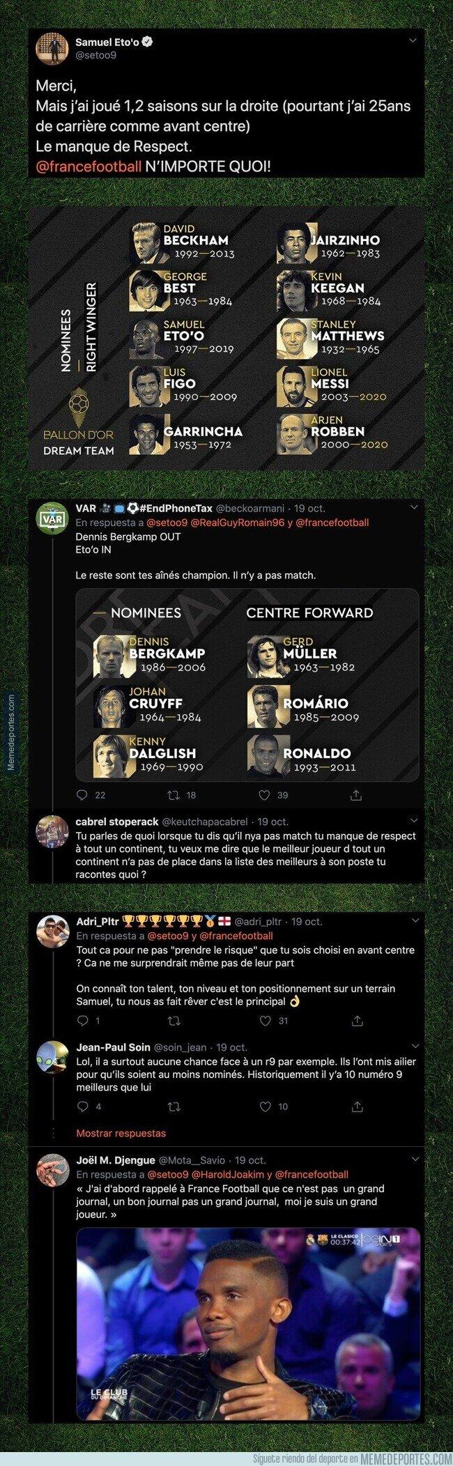 1118445 - Samuel Eto'o ha cargado duramente contra 'France Football' con este mensaje por la nominación que le han hecho en el Balón de Oro del Dream Team