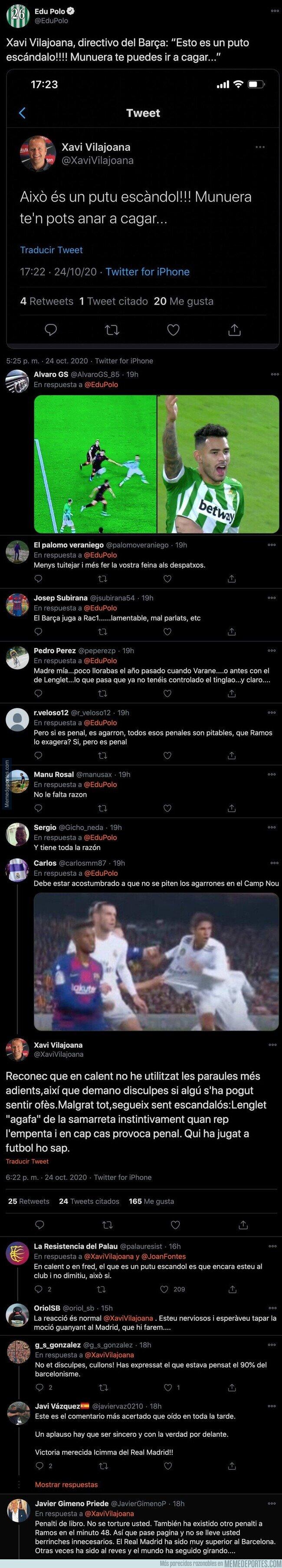 1118892 - Gran escándalo por este tuit de un directivo del Barça tras el polémico penalti a Ramos en el Camp Nou que ha tenido que borrar