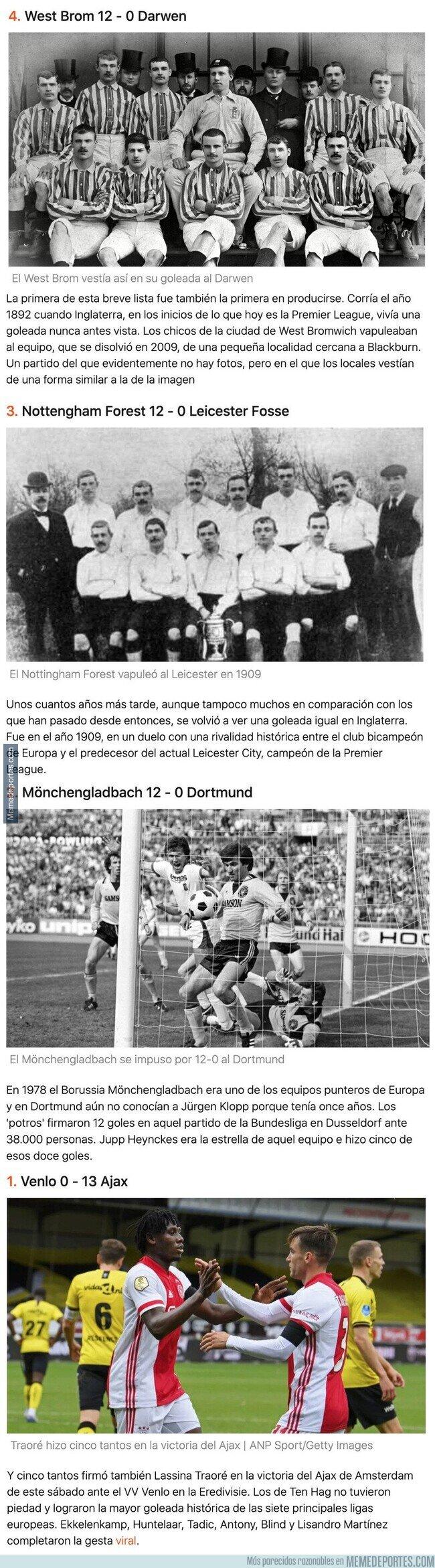 1119009 - Las mayores goleadas históricas de las grandes ligas europeas