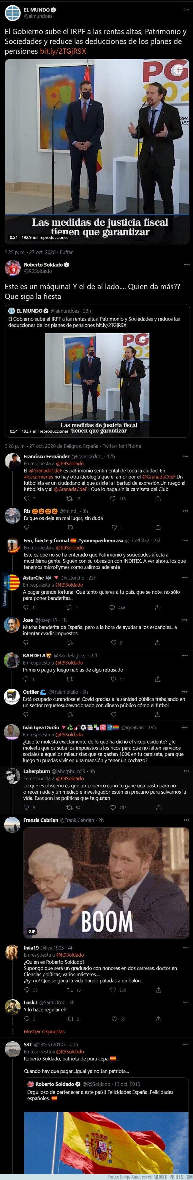1119180 - Roberto Soldado la ha liado parda con este mensaje faltando a Pedro Sánchez y Pablo Iglesias tras subir los impuestos a los ricos