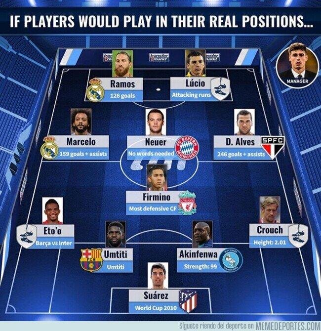 1120347 - El 11 ideal de jugadores que jugaron en una posición que no era la suya