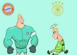 Enlace a La diferencia de Neuer entre club y selección, por @goalglobal